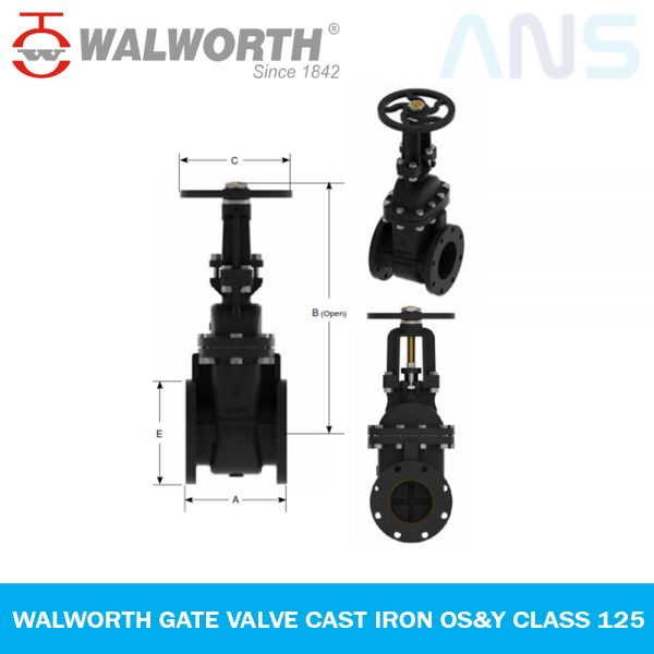 Gambar 1 WALWORTH GATE VALVE CAST IRON OS&Y CLASS 125