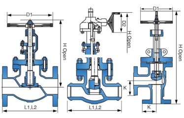 Cast steel globe valve drawing